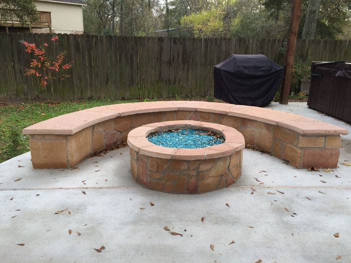 fire pit benches curved 3