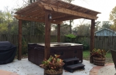 Boone Cedar Pergola with hot tub