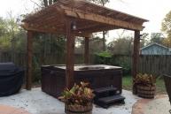 Boone Cedar Pergola with hot tub