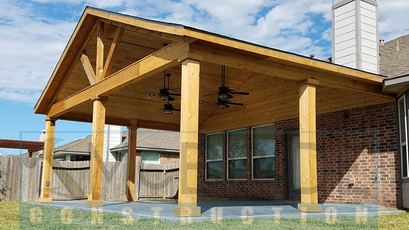 Popiak cedar gable patio cover project houston tx for Cost of building a house in houston