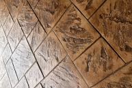 stemped brown tiles