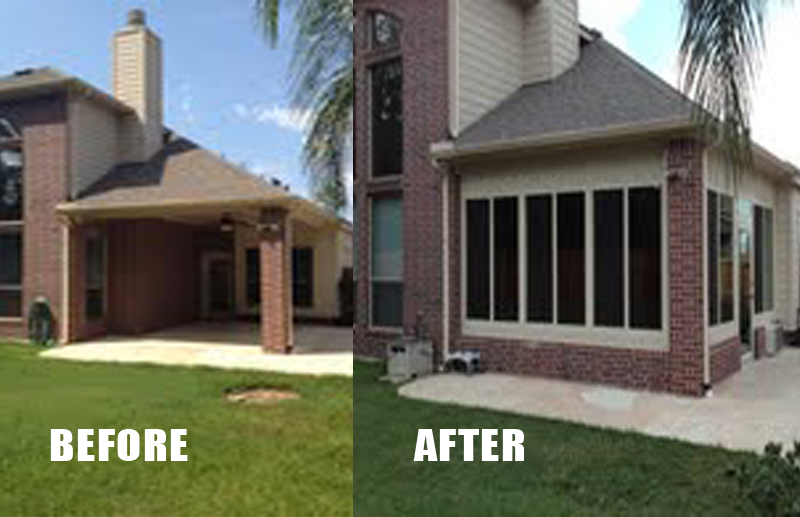 Elegant Sunroom Building Houston Before After