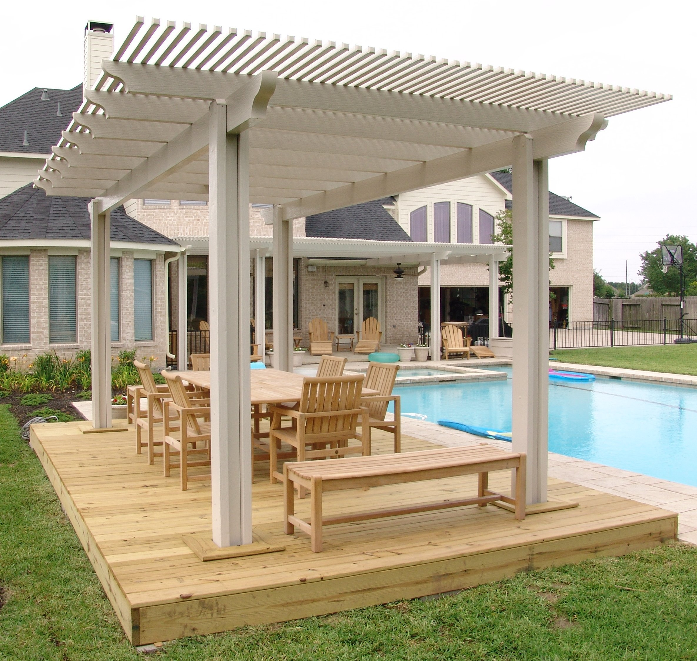 Wood patio covers in texas for Roof deck design