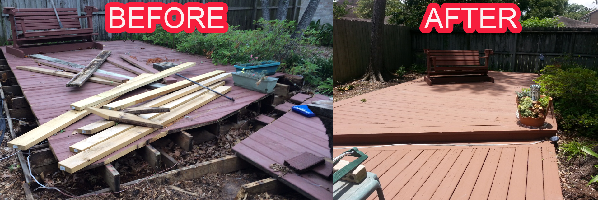 Deck Rebuild Houston Before After