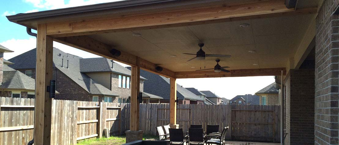 Pros cons of wood framed patio covers houston tx for Wood deck cover plans