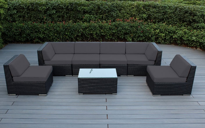 The Genuine Ohana Outdoor Patio Wicker Sectional Furniture 7 Piece Sofa Set Features An All Weather Pe Resin That Is Both Comfortable To Touch And