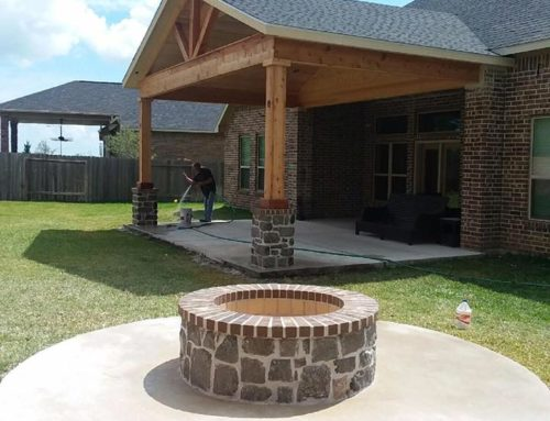 Concrete Patio Design With A Fire Pit
